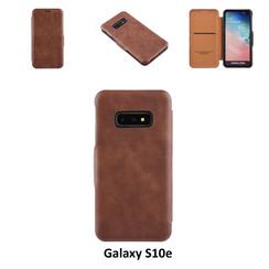 Samsung Galaxy S10e Pasjeshouder Bruin Booktype hoesje - Magneetsluiting - Kunststof;TPU