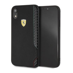 Apple Zwart Ferrari Back Cover voor iPhone XR - On Track PU Rubber