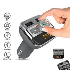 UNIQ Accessory Bluetooth MP3 FM Transmitter + 2 x USB & Volume button + remote control -UNIQ Accessory Bluetooth MP3 FM Transmitter + 2 x USB & Volume button + remote control - Grijs