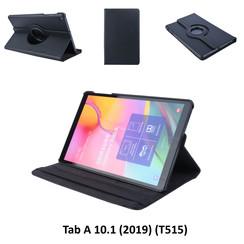 360° Draaibaar Zwart Book Case Tablethoes voor Samsung Tab A 10.1 (2019) (T515) -2 kijkstanden - Kunstleer