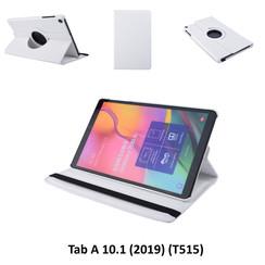 360° Draaibaar Wit Book Case Tablethoes voor Samsung Tab A 10.1 (2019) (T515) -2 kijkstanden - Kunstleer