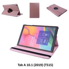 360° Draaibaar Rose Gold Book Case Tablethoes voor Samsung Tab A 10.1 (2019) (T515) -2 kijkstanden - Kunstleer