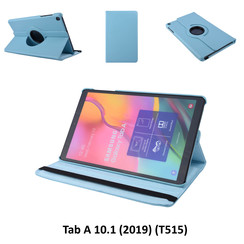 360° Draaibaar Blauw Book Case Tablethoes voor Samsung Tab A 10.1 (2019) (T515) -2 kijkstanden - Kunstleer