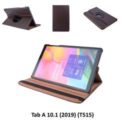 360° Draaibaar Bruin Book Case Tablethoes voor Samsung Tab A 10.1 (2019) (T515) -2 kijkstanden - Kunstleer