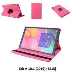 360° Draaibaar Hot Pink Book Case Tablethoes voor Samsung Tab A 10.1 (2019) (T515) -2 kijkstanden - Kunstleer