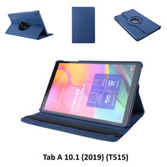 360° Draaibaar D Blauw Book Case Tablethoes voor Samsung Tab A 10.1 (2019) (T515) -2 kijkstanden - Kunstleer