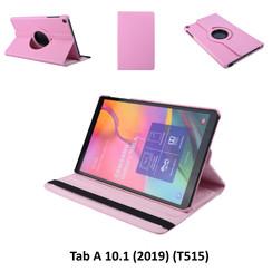 360° Draaibaar Roze Book Case Tablethoes voor Samsung Tab A 10.1 (2019) (T515) -2 kijkstanden - Kunstleer