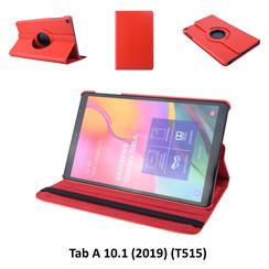 360° Draaibaar Rood Book Case Tablethoes voor Samsung Tab A 10.1 (2019) (T515) -2 kijkstanden - Kunstleer