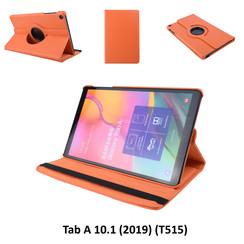 360° Draaibaar Oranje Book Case Tablethoes voor Samsung Tab A 10.1 (2019) (T515) -2 kijkstanden - Kunstleer
