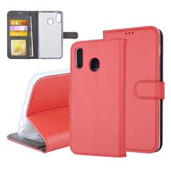 Samsung Galaxy A20 Pasjeshouder Rood Booktype hoesje - Magneetsluiting - Kunststof;TPU