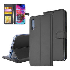 Pasjeshouder Zwart Book Case voor Samsung Galaxy A70 -Magneetsluiting -