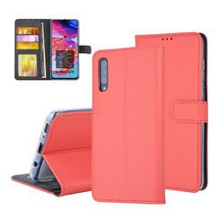 Samsung Galaxy A70 Pasjeshouder Rood Booktype hoesje - Magneetsluiting - Kunststof;TPU