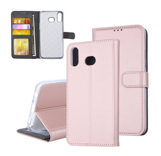 Samsung Galaxy A6s Card holder Rose Gold Book type case for Galaxy A6s Magnetic closure