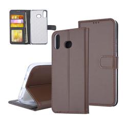 Samsung Galaxy A6s Pasjeshouder Bruin Booktype hoesje - Magneetsluiting - Kunststof;TPU