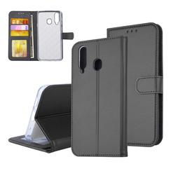 Samsung Galaxy A8s Pasjeshouder Zwart Booktype hoesje - Magneetsluiting - Kunststof;TPU