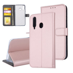Samsung Galaxy A8s Pasjeshouder Rose Gold Booktype hoesje - Magneetsluiting - Kunststof;TPU