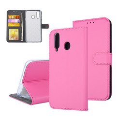 Samsung Galaxy A8s Pasjeshouder Hot Pink Booktype hoesje - Magneetsluiting - Kunststof;TPU