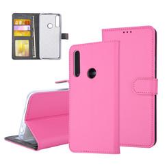 Huawei  Y9 Prime (2019) Pasjeshouder Hot Pink Booktype hoesje - Magneetsluiting - Kunststof;TPU