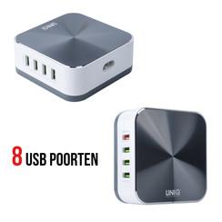 Qualcomm fast charging 3.0 USB Hub 8 ports 10A - Zilver