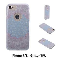 Uniek motief Glitter flower TPU Achterkant voor Apple iPhone 7/8 -Zacht en duurzaam - TPU