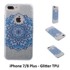 Uniek motief Glitter flower TPU Achterkant voor Apple iPhone 7/8 Plus -Zacht en duurzaam - TPU