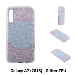 Uniek motief Glitter flower TPU Achterkant voor Samsung Galaxy A7 (2018) -Zacht en duurzaam - TPU