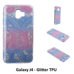 Uniek motief Glitter flower TPU Achterkant voor Samsung Galaxy J4 -Zacht en duurzaam - TPU