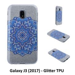 Uniek motief Glitter flower TPU Achterkant voor Samsung Galaxy J3 (2017) -Zacht en duurzaam - TPU