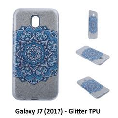 Uniek motief Glitter flower TPU Achterkant voor Samsung Galaxy J7 (2017) -Zacht en duurzaam - TPU
