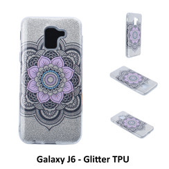 Uniek motief Glitter flower TPU Achterkant voor Samsung Galaxy J6 -Zacht en duurzaam - TPU