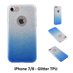 Gradient Blue Glitter Silikonhülle for iPhone 7/8 Soft and durable