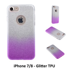 Gradient Purple Glitter Silikonhülle for iPhone 7/8 Soft and durable