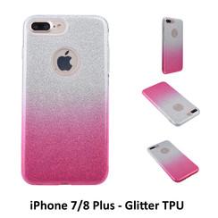 Kleurovergang Roze Glitter TPU Achterkant voor Apple iPhone 7/8 Plus -Zacht en duurzaam - TPU