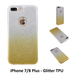 Kleurovergang Goud Glitter TPU Achterkant voor Apple iPhone 7/8 Plus -Zacht en duurzaam - TPU