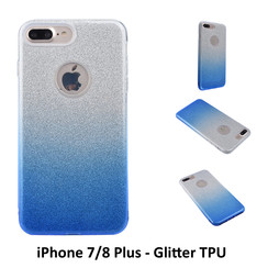 Gradient Blue Glitter Silikonhülle for iPhone 7/8 Plus Soft and durable