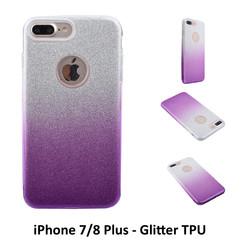 Kleurovergang Paars Glitter TPU Achterkant voor Apple iPhone 7/8 Plus -Zacht en duurzaam - TPU