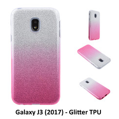 Kleurovergang Roze Glitter TPU Achterkant voor Samsung Galaxy J3 (2017) -Zacht en duurzaam - TPU