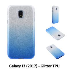 Kleurovergang Blauw Glitter TPU Achterkant voor Samsung Galaxy J3 (2017) -Zacht en duurzaam - TPU