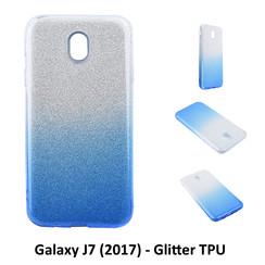 Kleurovergang Blauw Glitter TPU Achterkant voor Samsung Galaxy J7 (2017) -Zacht en duurzaam - TPU