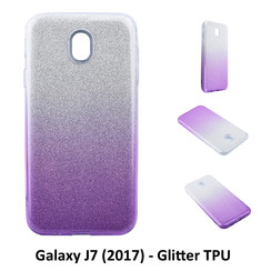 Gradient Purple Glitter Silikonhülle for Galaxy J7 (2017) Soft and durable