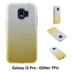 Kleurovergang Goud Glitter TPU Achterkant voor Samsung Galaxy J2 Pro -Zacht en duurzaam - TPU