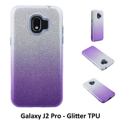 Gradient Purple Glitter Silikonhülle for Galaxy J2 Pro Soft and durable