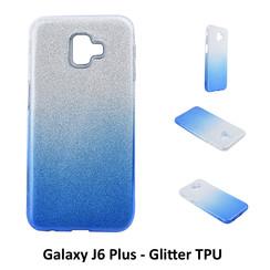 Dégradé Bleu Glitter Silikonhülle pour Galaxy J6 Plus Doux et durable