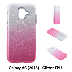 Kleurovergang Roze Glitter TPU Achterkant voor Samsung Galaxy A6 (2018) -Zacht en duurzaam - TPU