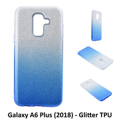 Gradient Blue Glitter Silikonhülle for Galaxy A6 Plus (2018) Soft and durable