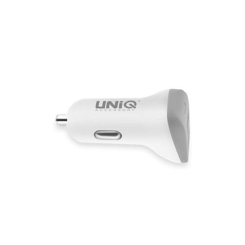 UNIQ Accessory Autolader Dual USB port 4.8A - UNIQ Accessory Snellader - Wit
