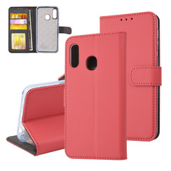 Samsung Galaxy A20e Pasjeshouder Rood Booktype hoesje - Magneetsluiting - Kunstleer; TPU