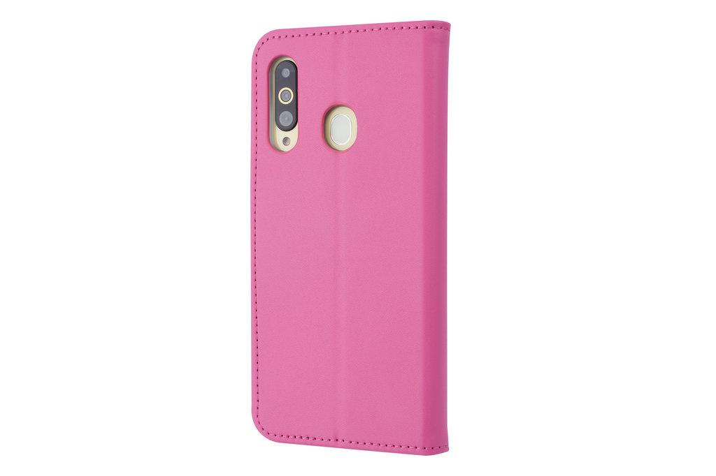 Samsung Galaxy A60 Pasjeshouder Hot Pink Booktype hoesje - Magneetsluiting - Kunstleer; TPU