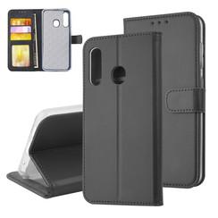 Samsung Galaxy M40 Pasjeshouder Zwart Booktype hoesje - Magneetsluiting - Kunstleer; TPU