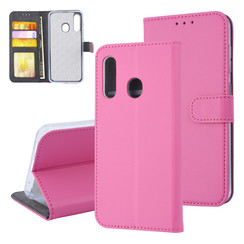 Samsung Galaxy M40 Pasjeshouder Kunstleer Booktype hoesje - Magneetsluiting - Felroze